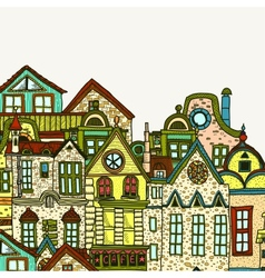 Hand-drawn old town background vector image