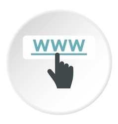 Hand points to WWW icon flat style vector