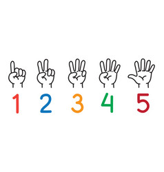 Hands with fingersicon set for counting education vector