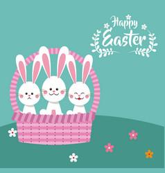 happy easter bunnies in basket decorative vector image vector image
