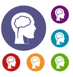 head with brain icons set vector image