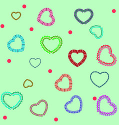 heart color on green seamless pattern fashion vector image
