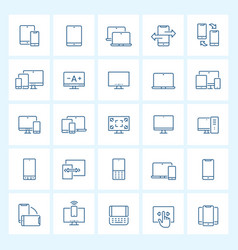 icon set - device and responsive thin line vector image