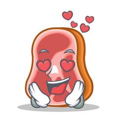 In love meat character cartoon food vector