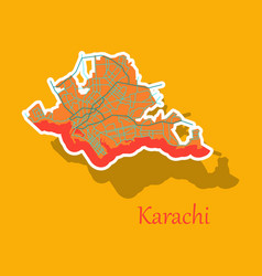 Karachi pakistan colorful sticker map streets vector