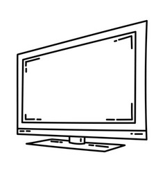 led television icon doodle hand drawn or outline vector image