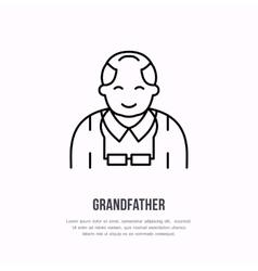 line icon happy old person nursing home sign vector image