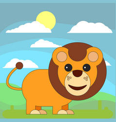 lion in cartoon flat style on the background of vector image