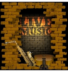 live music brick wall saxophone and guitar vector image