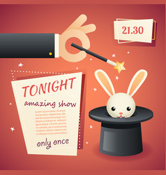 Magic circus show hand holding wand poster vector