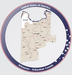 Map sebastian county in arkansas vector
