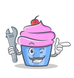 Mechanic cupcake character cartoon style vector