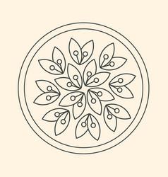 Minimalism linear flower logo art on beige vector