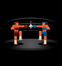 Muay thai red and blue fighter on the ring vector