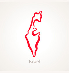 Outline map israel marked with red line vector