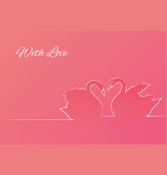 outline of couple of swans on pink background vector image