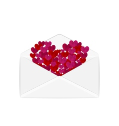Paper grunge hearts in open white envelope vector