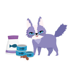 pet shop funny cat with package food fish can vector image