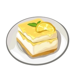 Piece of delicious cake with lemon on top dessert vector image