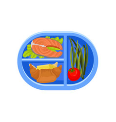 plastic oval tray with salmon fish on lettuce leaf vector image