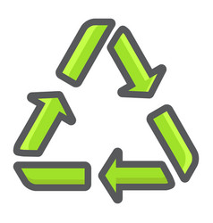 recycle symbol filled outline icon eco vector image