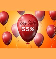 Red balloons with an inscription big sale fifty vector