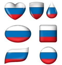 Russian Flag in various shape glossy button vector image