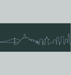 san francisco single line skyline vector image