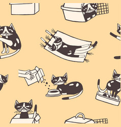 seamless pattern with funny cat washing itself vector image