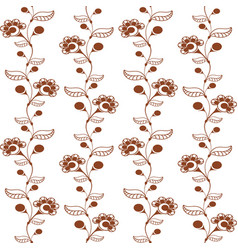 Seamless pattern with ornament of brown henna vector
