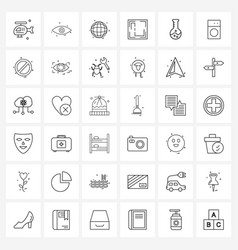 Set 36 line icon signs and symbols lab vector