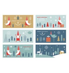 set horizontal christmas or new yers banners vector image