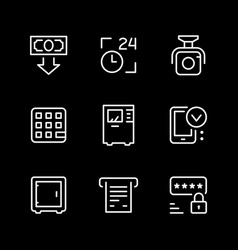 set line icons atm vector image