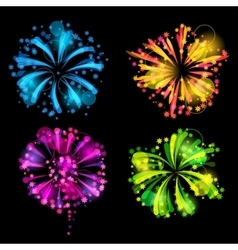 Set of bright colorful fireworks and salute vector image