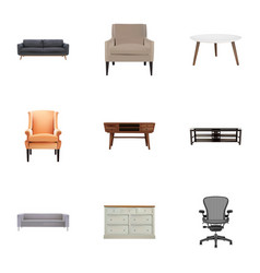 Set of decoration realistic symbols with chair vector