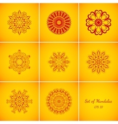Set of Magic Red Glow Mandalas vector image