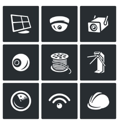 Set of Security Installation Icons vector