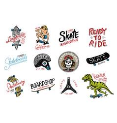 set of skateboarding labels logo skater dinosaur vector image