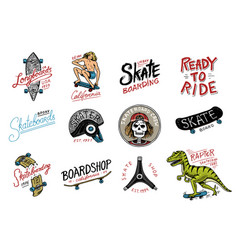 Set skateboarding labels logo skater dinosaur vector
