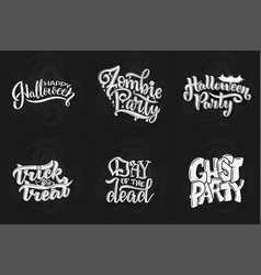 set with phrase for halloween lettering vector image