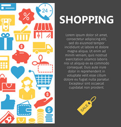 Shopping line icons banner vector