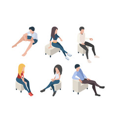 sitting people characters in couch armchairs vector image