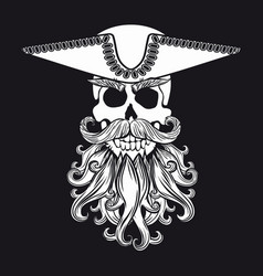 skull with beard vector image