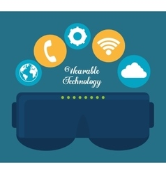 Smart glasses wearable technology icon image vector
