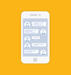 smartphone chat interface - short sms message se vector image