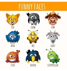 Smiling animals nine different characters vector