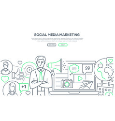 social media marketing - modern line design style vector image