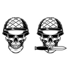 Soldier skull with knife design element vector