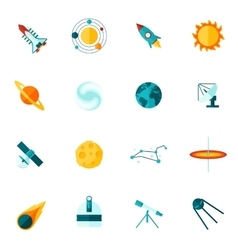 Space Universe Flat Icon Set vector image