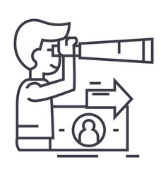 Strategic vision planning man with spyglass vector